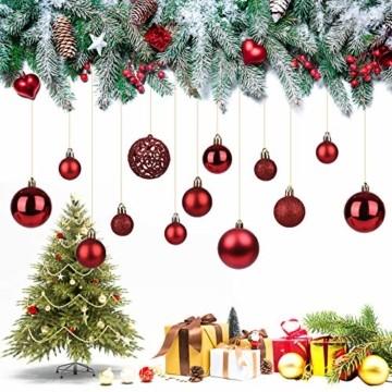 KATELUO 100 Stück Weihnachtskugeln Kunststoff, Christbaumkugeln, Weihnachtsdeko, Rote Weihnachtskugeln, Glitzernd, Matt, Glänzend Weihnachtskugeln Set, Ø 3, 4 & 6cm - 4