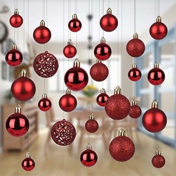 KATELUO 100 Stück Weihnachtskugeln Kunststoff, Christbaumkugeln, Weihnachtsdeko, Rote Weihnachtskugeln, Glitzernd, Matt, Glänzend Weihnachtskugeln Set, Ø 3, 4 & 6cm - 7