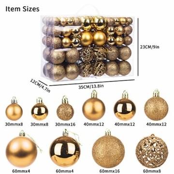 KATELUO 100 Stück Weihnachtskugeln Kunststoff, Christbaumkugeln, Weihnachtsdeko, Weihnachtskugeln Gold, Glitzernd, Matt, Glänzend Weihnachtskugeln Set, Ø 3, 4 & 6cm (Gold) - 2