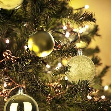 KATELUO 100 Stück Weihnachtskugeln Kunststoff, Christbaumkugeln, Weihnachtsdeko, Weihnachtskugeln Gold, Glitzernd, Matt, Glänzend Weihnachtskugeln Set, Ø 3, 4 & 6cm (Gold) - 3