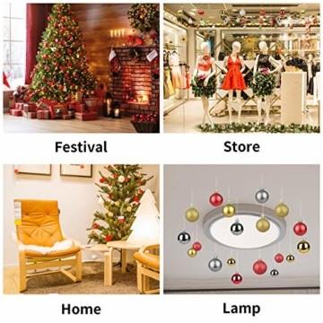 KATELUO 100 Stück Weihnachtskugeln Kunststoff, Christbaumkugeln, Weihnachtsdeko, Weihnachtskugeln Gold, Glitzernd, Matt, Glänzend Weihnachtskugeln Set, Ø 3, 4 & 6cm (Gold) - 4
