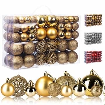 KATELUO 100 Stück Weihnachtskugeln Kunststoff, Christbaumkugeln, Weihnachtsdeko, Weihnachtskugeln Gold, Glitzernd, Matt, Glänzend Weihnachtskugeln Set, Ø 3, 4 & 6cm (Gold) - 1