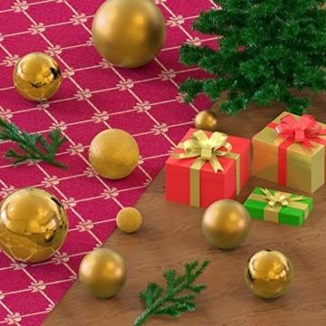 KATELUO 100 Stück Weihnachtskugeln Kunststoff, Christbaumkugeln, Weihnachtsdeko, Weihnachtskugeln Gold, Glitzernd, Matt, Glänzend Weihnachtskugeln Set, Ø 3, 4 & 6cm (Gold) - 5