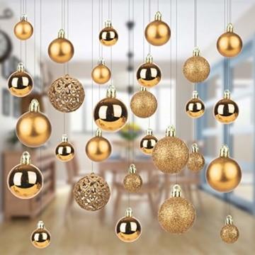 KATELUO 100 Stück Weihnachtskugeln Kunststoff, Christbaumkugeln, Weihnachtsdeko, Weihnachtskugeln Gold, Glitzernd, Matt, Glänzend Weihnachtskugeln Set, Ø 3, 4 & 6cm (Gold) - 6