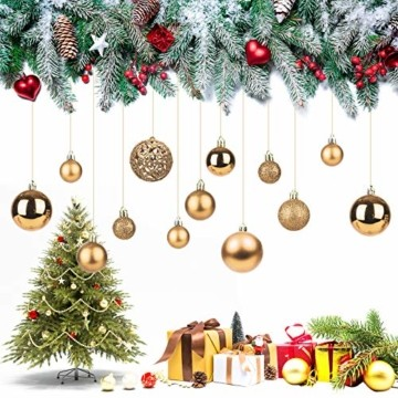 KATELUO 100 Stück Weihnachtskugeln Kunststoff, Christbaumkugeln, Weihnachtsdeko, Weihnachtskugeln Gold, Glitzernd, Matt, Glänzend Weihnachtskugeln Set, Ø 3, 4 & 6cm (Gold) - 7