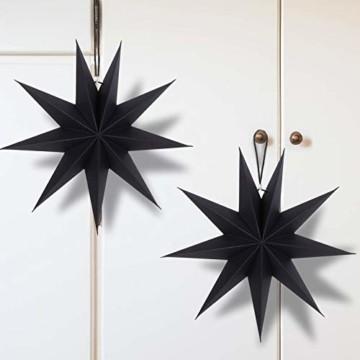 KATELUO 30cm Papier Stern Dekoration,3D Sterne Form für Weihnachten,Papierstern Weihnachtsdeko,weihnachtsdeko papierstern.(2 Stück) (schwarz) - 2