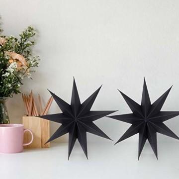 KATELUO 30cm Papier Stern Dekoration,3D Sterne Form für Weihnachten,Papierstern Weihnachtsdeko,weihnachtsdeko papierstern.(2 Stück) (schwarz) - 3