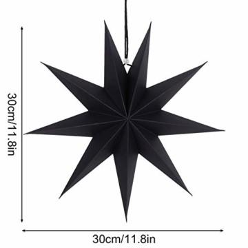 KATELUO 30cm Papier Stern Dekoration,3D Sterne Form für Weihnachten,Papierstern Weihnachtsdeko,weihnachtsdeko papierstern.(2 Stück) (schwarz) - 4