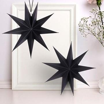 KATELUO 30cm Papier Stern Dekoration,3D Sterne Form für Weihnachten,Papierstern Weihnachtsdeko,weihnachtsdeko papierstern.(2 Stück) (schwarz) - 1