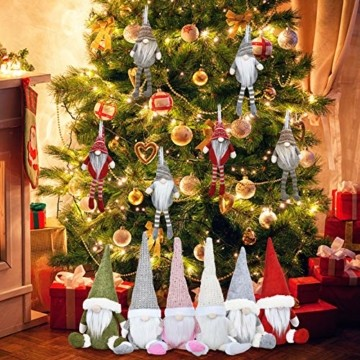 KATELUO Wichtel Figuren Weihnachten, Weihnachten Gesichtslose Puppe, Weihnachtspuppe, Ostern Weihnachten Deko Wichtel, Bart Mann Anhänger Dekoration Weihnachten Ornament Spielzeug Geschenk Prop Partei - 7