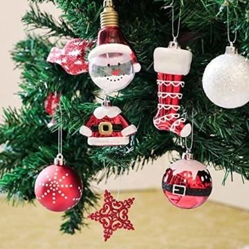 Kathariiy 【70pcs Dekorationen】 Set Personalisierte Weihnachtskugel Baumschmuck Weihnachtsbaum Tanne Deko Baum Kugeln Weihnachtskugeln Kunststoff Weiß Gold Grün Rot - 2