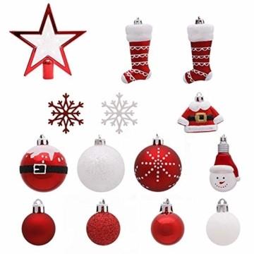 Kathariiy 【70pcs Dekorationen】 Set Personalisierte Weihnachtskugel Baumschmuck Weihnachtsbaum Tanne Deko Baum Kugeln Weihnachtskugeln Kunststoff Weiß Gold Grün Rot - 3