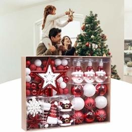Kathariiy 【70pcs Dekorationen】 Set Personalisierte Weihnachtskugel Baumschmuck Weihnachtsbaum Tanne Deko Baum Kugeln Weihnachtskugeln Kunststoff Weiß Gold Grün Rot - 1
