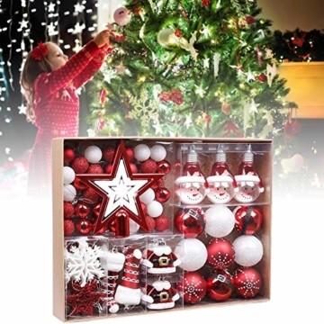 Kathariiy 【70pcs Dekorationen】 Set Personalisierte Weihnachtskugel Baumschmuck Weihnachtsbaum Tanne Deko Baum Kugeln Weihnachtskugeln Kunststoff Weiß Gold Grün Rot - 4