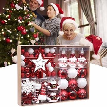 Kathariiy 【70pcs Dekorationen】 Set Personalisierte Weihnachtskugel Baumschmuck Weihnachtsbaum Tanne Deko Baum Kugeln Weihnachtskugeln Kunststoff Weiß Gold Grün Rot - 5