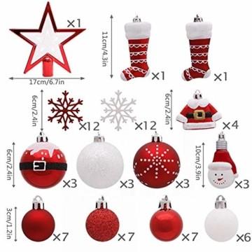 Kathariiy 【70pcs Dekorationen】 Set Personalisierte Weihnachtskugel Baumschmuck Weihnachtsbaum Tanne Deko Baum Kugeln Weihnachtskugeln Kunststoff Weiß Gold Grün Rot - 8