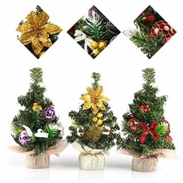 Kesote 3X Weihnachtsbaum Künstlich Klein Tannenbaum Geschmückt Christbaum Mini Weihnachtsdeko Advent Weihnachten (22 x 11 cm) - 4