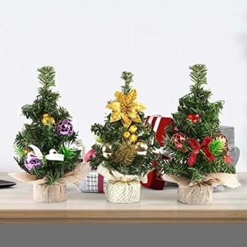 Kesote 3X Weihnachtsbaum Künstlich Klein Tannenbaum Geschmückt Christbaum Mini Weihnachtsdeko Advent Weihnachten (22 x 11 cm) - 5