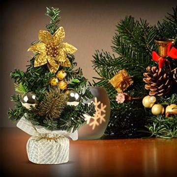 Kesote 3X Weihnachtsbaum Künstlich Klein Tannenbaum Geschmückt Christbaum Mini Weihnachtsdeko Advent Weihnachten (22 x 11 cm) - 6