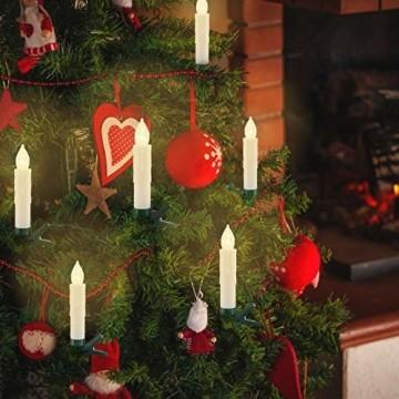 KESSER® Weihnachtsbaumkerzen 30 LED Inkl. Batterien Kabellos - Warmweiß - mit Fernbedienung Funk - Timerfunktion - Flackern - Dimmbar Weihnachtskerzen Christbaumkerzen Befestigungsklammern Kerzen - 3