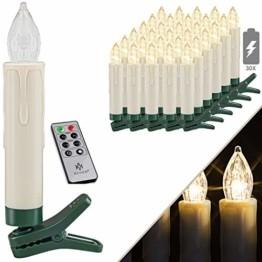 KESSER® Weihnachtsbaumkerzen 30 LED Inkl. Batterien Kabellos - Warmweiß - mit Fernbedienung Funk - Timerfunktion - Flackern - Dimmbar Weihnachtskerzen Christbaumkerzen Befestigungsklammern Kerzen - 1