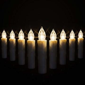 KESSER® Weihnachtsbaumkerzen 30 LED Inkl. Batterien Kabellos - Warmweiß - mit Fernbedienung Funk - Timerfunktion - Flackern - Dimmbar Weihnachtskerzen Christbaumkerzen Befestigungsklammern Kerzen - 5