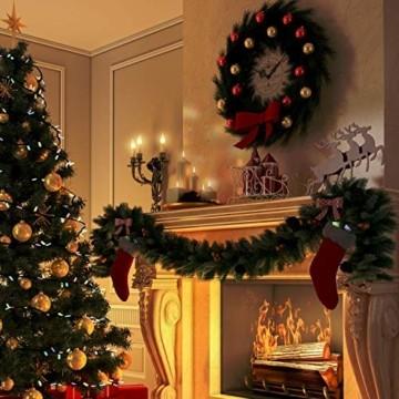 KESSER® Weihnachtsgirlande 10m mit Beleuchtung 200 LED's inkl Deko Fernbedienung - Timer - Lichterkette 7 Leuchteffekte - Weihnachtsbeleuchtung - In & Outdoor - Tannen-Girlande Weihnachtsdeko - 3