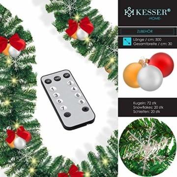 KESSER® Weihnachtsgirlande 10m mit Beleuchtung 200 LED's inkl Deko Fernbedienung - Timer - Lichterkette 7 Leuchteffekte - Weihnachtsbeleuchtung - In & Outdoor - Tannen-Girlande Weihnachtsdeko - 4