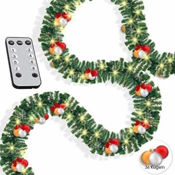 KESSER® Weihnachtsgirlande 10m mit Beleuchtung 200 LED's inkl Deko Fernbedienung - Timer - Lichterkette 7 Leuchteffekte - Weihnachtsbeleuchtung - In & Outdoor - Tannen-Girlande Weihnachtsdeko - 1