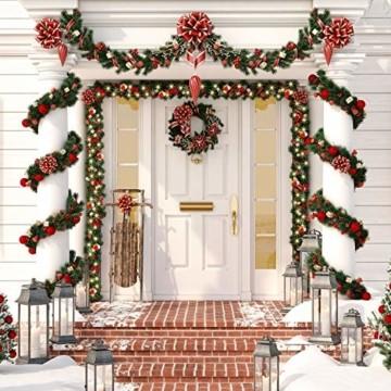 KESSER® Weihnachtsgirlande 10m mit Beleuchtung 200 LED's inkl Deko Fernbedienung - Timer - Lichterkette 7 Leuchteffekte - Weihnachtsbeleuchtung - In & Outdoor - Tannen-Girlande Weihnachtsdeko - 5