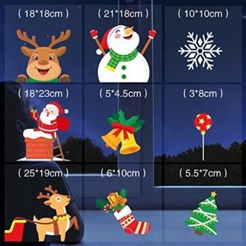 KNMY Weihnachtsdeko Fensterbilder, Wiederverwendbar Weihnachten Fenstersticker, DIY Weihnachten Fensterdeko Set, Weihnachtsmann Süße Elche Schneemann Schneeflocken Statisch Aufkleber - 2