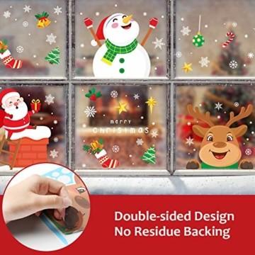 KNMY Weihnachtsdeko Fensterbilder, Wiederverwendbar Weihnachten Fenstersticker, DIY Weihnachten Fensterdeko Set, Weihnachtsmann Süße Elche Schneemann Schneeflocken Statisch Aufkleber - 3