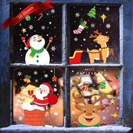 KNMY Weihnachtsdeko Fensterbilder, Wiederverwendbar Weihnachten Fenstersticker, DIY Weihnachten Fensterdeko Set, Weihnachtsmann Süße Elche Schneemann Schneeflocken Statisch Aufkleber - 1