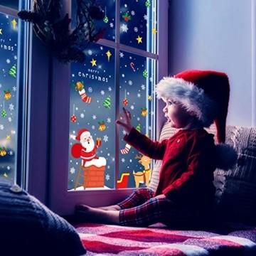 KNMY Weihnachtsdeko Fensterbilder, Wiederverwendbar Weihnachten Fenstersticker, DIY Weihnachten Fensterdeko Set, Weihnachtsmann Süße Elche Schneemann Schneeflocken Statisch Aufkleber - 4