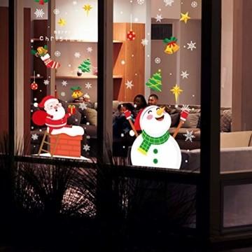KNMY Weihnachtsdeko Fensterbilder, Wiederverwendbar Weihnachten Fenstersticker, DIY Weihnachten Fensterdeko Set, Weihnachtsmann Süße Elche Schneemann Schneeflocken Statisch Aufkleber - 5