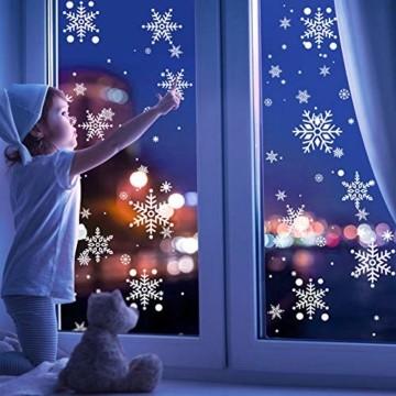KNMY Weihnachtsdeko Fensterbilder, Wiederverwendbar Weihnachten Fenstersticker, DIY Weihnachten Fensterdeko Set, Weihnachtsmann Süße Elche Schneemann Schneeflocken Statisch Aufkleber - 6