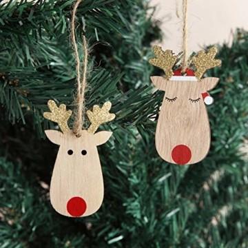 KOHMUI Holz Weihnachtsdeko Anhänger Set, Christbaumschmuck Weihnachtsbaumschmuck, Baumschmuck zum Hängen, 24 Christbaum Hirschkopf Rentier Weihnachtssnhänger mit 18 Frohe Weihnachten Aufkleber - 2