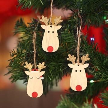 KOHMUI Holz Weihnachtsdeko Anhänger Set, Christbaumschmuck Weihnachtsbaumschmuck, Baumschmuck zum Hängen, 24 Christbaum Hirschkopf Rentier Weihnachtssnhänger mit 18 Frohe Weihnachten Aufkleber - 3