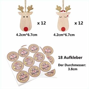 KOHMUI Holz Weihnachtsdeko Anhänger Set, Christbaumschmuck Weihnachtsbaumschmuck, Baumschmuck zum Hängen, 24 Christbaum Hirschkopf Rentier Weihnachtssnhänger mit 18 Frohe Weihnachten Aufkleber - 4