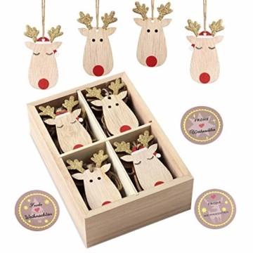 KOHMUI Holz Weihnachtsdeko Anhänger Set, Christbaumschmuck Weihnachtsbaumschmuck, Baumschmuck zum Hängen, 24 Christbaum Hirschkopf Rentier Weihnachtssnhänger mit 18 Frohe Weihnachten Aufkleber - 1