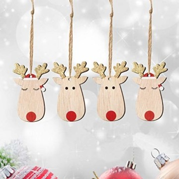 KOHMUI Holz Weihnachtsdeko Anhänger Set, Christbaumschmuck Weihnachtsbaumschmuck, Baumschmuck zum Hängen, 24 Christbaum Hirschkopf Rentier Weihnachtssnhänger mit 18 Frohe Weihnachten Aufkleber - 6