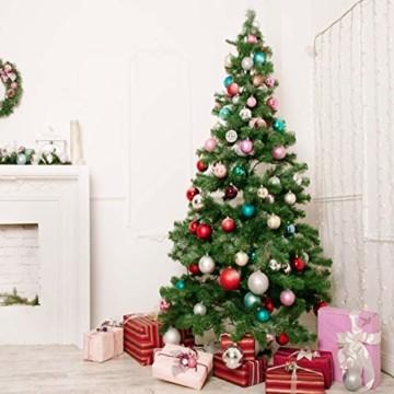KOHMUI Holz Weihnachtsdeko Anhänger, Weihnachtsdekoration Hirsch Dekofigur mit Rote Nase Rentier Baumschmuck zum Hängen, 24 Weihnachtssnhänger mit 18 Frohe Weihnachten Aufkleber, MEHRWEG Verpackung - 2