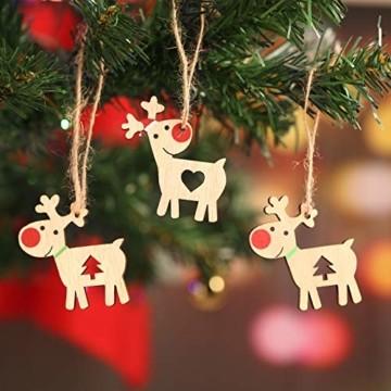 KOHMUI Holz Weihnachtsdeko Anhänger, Weihnachtsdekoration Hirsch Dekofigur mit Rote Nase Rentier Baumschmuck zum Hängen, 24 Weihnachtssnhänger mit 18 Frohe Weihnachten Aufkleber, MEHRWEG Verpackung - 3