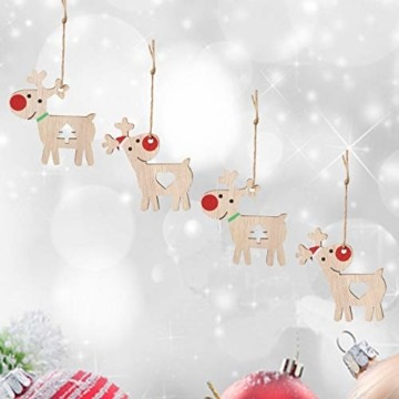 KOHMUI Holz Weihnachtsdeko Anhänger, Weihnachtsdekoration Hirsch Dekofigur mit Rote Nase Rentier Baumschmuck zum Hängen, 24 Weihnachtssnhänger mit 18 Frohe Weihnachten Aufkleber, MEHRWEG Verpackung - 4