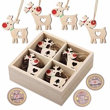 KOHMUI Holz Weihnachtsdeko Anhänger, Weihnachtsdekoration Hirsch Dekofigur mit Rote Nase Rentier Baumschmuck zum Hängen, 24 Weihnachtssnhänger mit 18 Frohe Weihnachten Aufkleber, MEHRWEG Verpackung - 1
