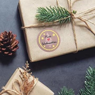 KOHMUI Holz Weihnachtsdeko Anhänger, Weihnachtsdekoration Hirsch Dekofigur mit Rote Nase Rentier Baumschmuck zum Hängen, 24 Weihnachtssnhänger mit 18 Frohe Weihnachten Aufkleber, MEHRWEG Verpackung - 6