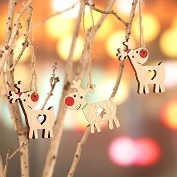 KOHMUI Holz Weihnachtsdeko Anhänger, Weihnachtsdekoration Hirsch Dekofigur mit Rote Nase Rentier Baumschmuck zum Hängen, 24 Weihnachtssnhänger mit 18 Frohe Weihnachten Aufkleber, MEHRWEG Verpackung - 7