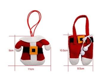 Kranich Besteckhalter Weihnachten Tischdeko Tasche 6pcs Set Kleine Weihnachtsmann Kostüm Schneemann Deko (Weihnachtsmann) - 2
