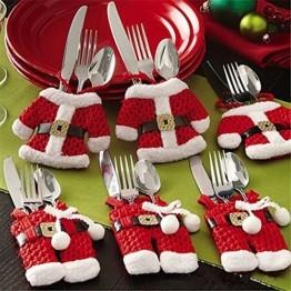 Kranich Besteckhalter Weihnachten Tischdeko Tasche 6pcs Set Kleine Weihnachtsmann Kostüm Schneemann Deko (Weihnachtsmann) - 1