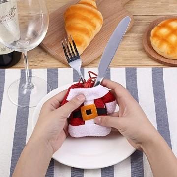 Kranich Besteckhalter Weihnachten Tischdeko Tasche 6pcs Set Kleine Weihnachtsmann Kostüm Schneemann Deko (Weihnachtsmann) - 5